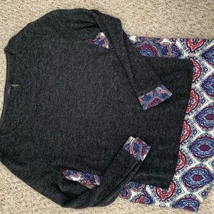 Knit top with paisley bottom and cuff detail